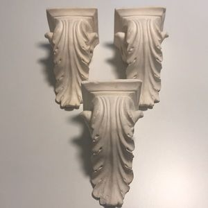 3 White Plaster Curtain Drapery Sconces